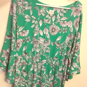 Bell sleeved floral dress-70's style vibe